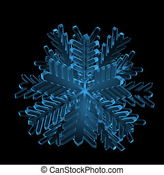 Snowflake (3D xray blue transparent)