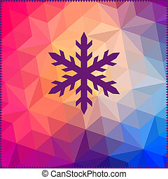 snowflake. Abstract snowflake on geometric pattern. Snowflake sign. Christmas. New Year card illustration. Holida y design. Winter. Backdrop. Retro pattern of geometric shapes. Hipster background