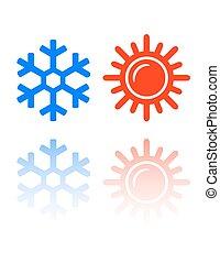snowflake and sun symbols
