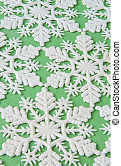 Snowflake Background on Green