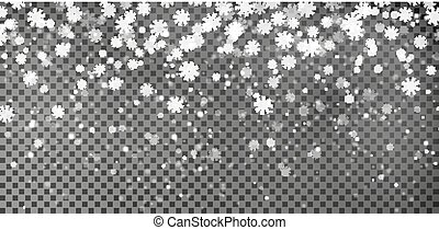 Snowflake background vector. Christmas snow fall decoration effect. Transparent pattern.