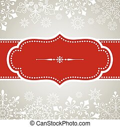 Vintage frame design on snowflake background. Snowflakes are behind a clipping mask. Colors are global for easy editing.