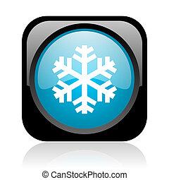 snowflake black and blue square web glossy icon