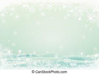 snowflake, borda, com, neve, colinas, fundo