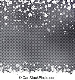 Snowflake border vector. Christmas falling snow.