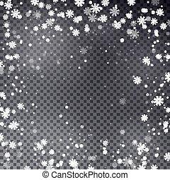 Snowflake border vector. Christmas falling snow frame.