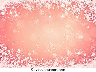 Snowflake border with snow hills background