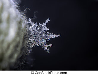 Snowflake bright at the blue background