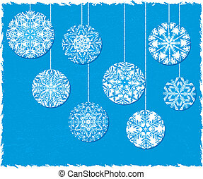 Snowflake Christmas Ornaments on a Blue Background