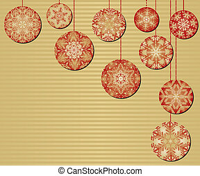 Snowflake Christmas Ornaments on a Red and Gold Background