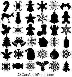 Snowflake Christmas Symbol - A Vector Silhouette of Seamless...