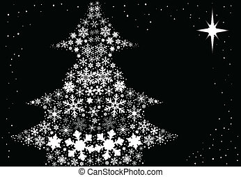 Snowflake Christmas Tree - A black background with...