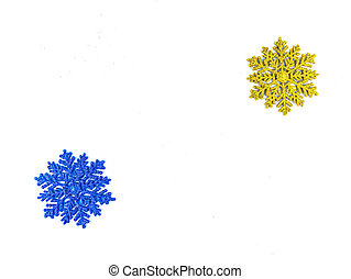 Snowflake Christmas tree decoration on a white background with place for text.