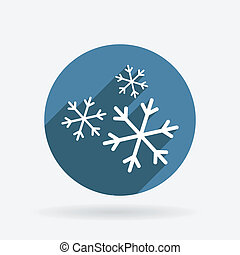 snowflake. Circle blue icon with shadow