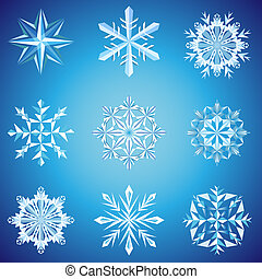 Snowflake crystals on blue background vector illustration.