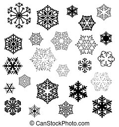 Snowflake designs - various stylized designs of snowflakes...