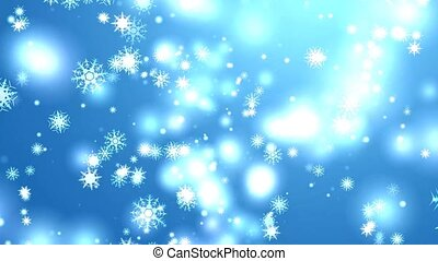 snowflake eight and six star six branch short thorn wing falling on black screen, ice dust particles element for Christmas festival blue background