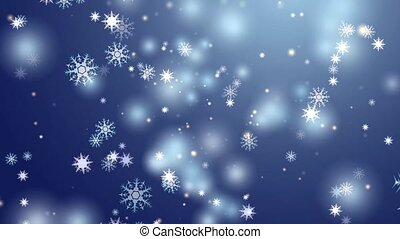 """""""snowflake eight and six star six branch thorn wing falling on black screen, ice dust particles element for Christmas festival dark blue background"""""""