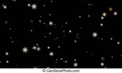 """""""snowflake eight branch thorn falling on black screen, ice dust particles element for Christmas and Christmas eve luxury gold tone background"""""""