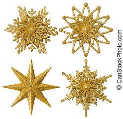 snowflake, estrela, decoração natal, ornamento, xmas, ouro, cintilante, jogo, isolado, branca