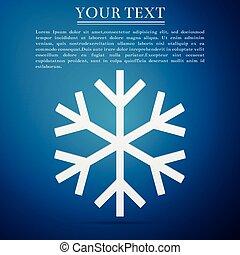 Snowflake flat icon on blue background. Vector Illustration