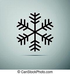 Snowflake flat icon on grey background.