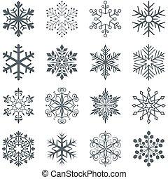 snowflake, formas, vetorial, jogo, isolado, branco, experiência.