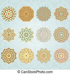 Snowflake geometric vintage colors set Vector illustration