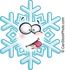 Snowflake Head - Tongue - Cartoon illustration of a...