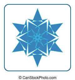 Snowflake icon. Blue sign