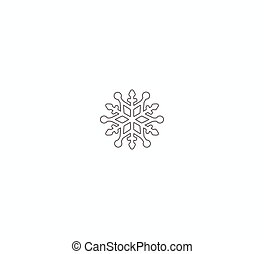 Snowflake Icon. Flat logo of snowflake isolated on white background. New Year and winter symbol.