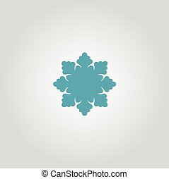 Snowflake Icon. Flat logo of snowflake isolated on white background. New Year and winter symbol. Vector illustration.