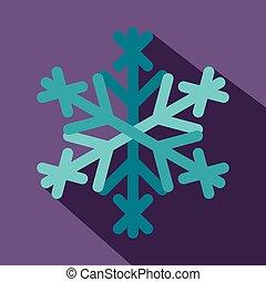 Snowflake icon, flat style