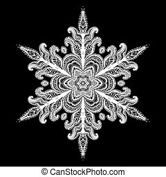 Snowflake Icon Graphic Sign Symbol Drawing. White Snowflake Isolated on Black Background. High Resolution Detailed Graphic Illustration