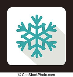 Snowflake icon in flat style