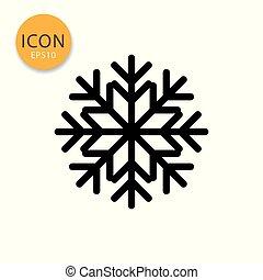 Snowflake icon isolated flat style.