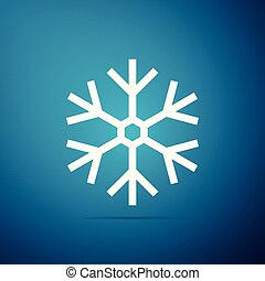 Snowflake icon isolated on blue background. Flat design. Vector Illustration
