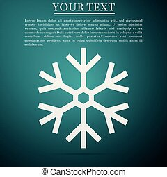 Snowflake icon isolated on green background. Flat design. Vector Illustration