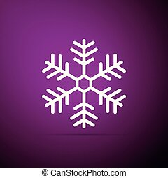 Snowflake icon isolated on purple background. Flat design. Vector Illustration