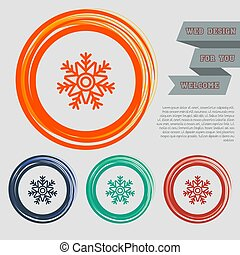 Snowflake icon on the red, blue, green, orange buttons for your website and design with space text. Vector