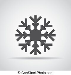Snowflake icon with shadow on a gray background. Vector illustration
