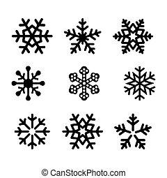 Snowflake Icons Black Vector Silhouette Illustration