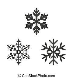 Snowflake icons on white background.