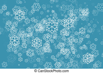 Snowflake in green color abstract background