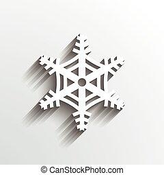snowflake, natal., 3d, papel, estilo