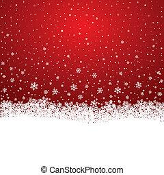 snowflake, neve, estrelas, branco vermelho, fundo