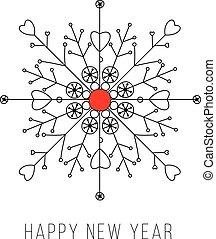 Snowflake new year card design
