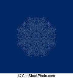 Snowflake on a blue background. Hand draw. Vector illustration