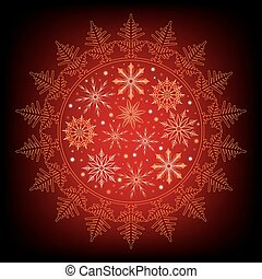 snowflake on a red, dark background