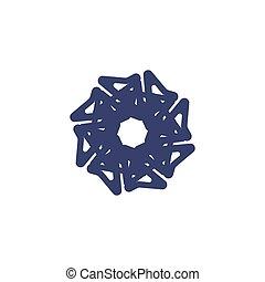 Snowflake on a white background.